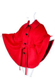 1990s Button Front Red Wool Short Cape