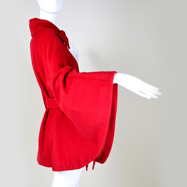 1990s Ellen Tracy Red Wool Vintage Cape S/M