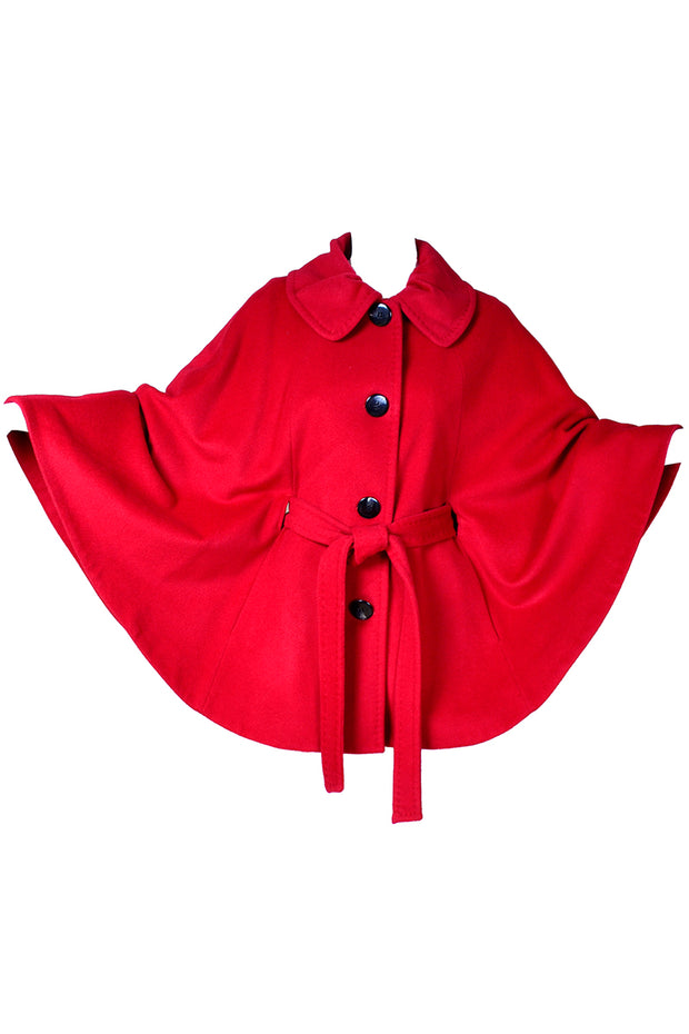 Vintage Red Wool Circle Cape with Waist Tie