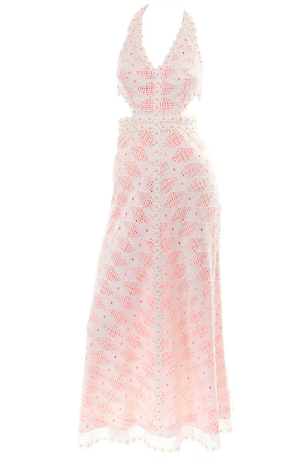 Crochet Lace over Gingham 1970's Vintage Maxi Dress