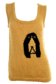 Emilio Lapi 1970's Mustard Dog Sweater Vest