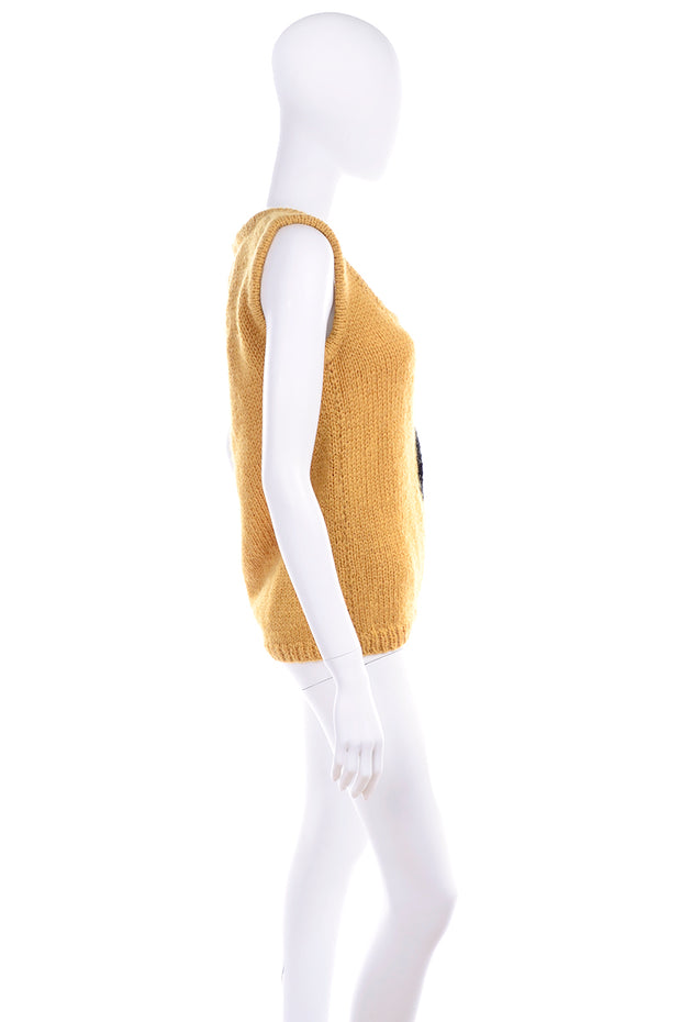 1970's Emilio Lapi Mustard Knit Novelty Dog Sweater Vest