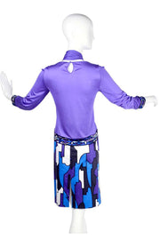 Emilio Pucci Abstract Geometric Skirt W Purple Jersey Top & Sash 2 piece dress