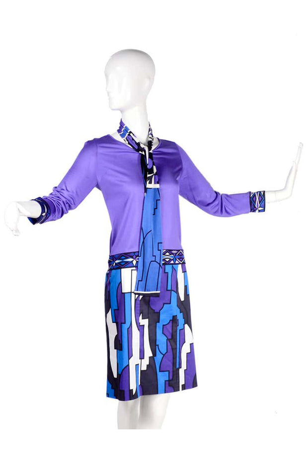 2 pc Emilio Pucci Abstract Geometric Skirt W Purple Jersey Top & Sash