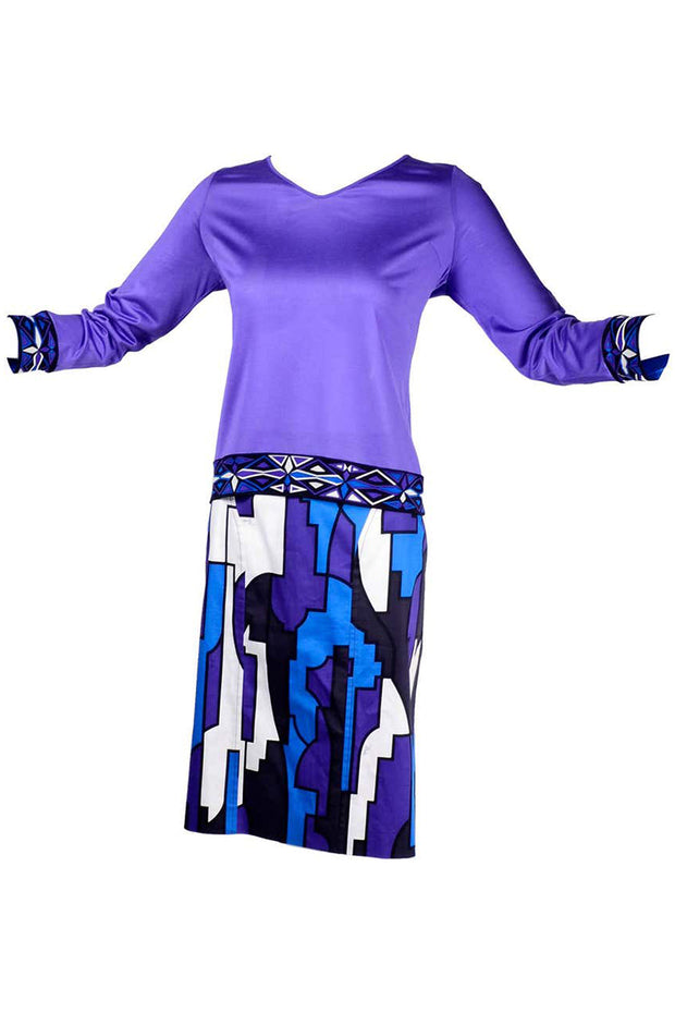 Emilio Pucci Abstract Geometric Skirt W Purple Jersey Top & Sash