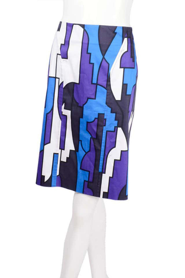 Emilio Pucci  2 Piece Dress in Abstract Geometric Skirt W Purple Jersey Top & Sash