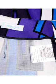 Emilio Pucci Abstract Geometric Skirt W Purple Jersey Top & Sash Italy
