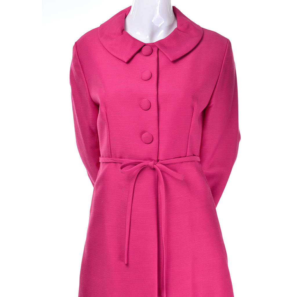 Vintage Pink Emma Domb Dress Coat Suit 1960s