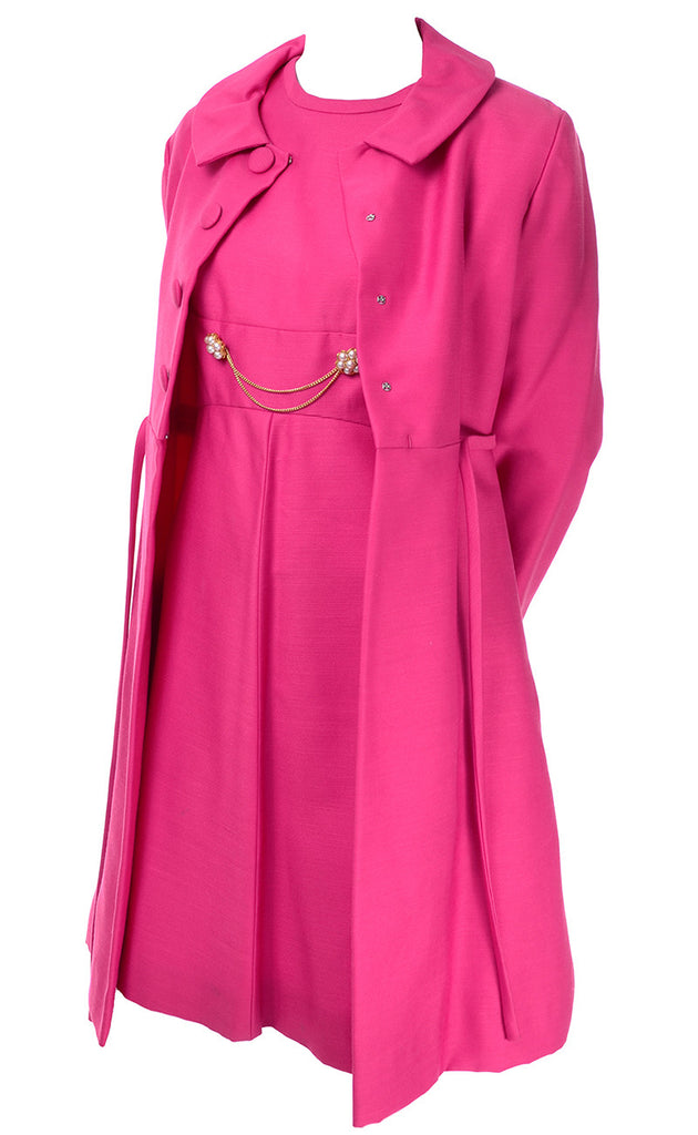 Pink Emma Domb Dress Coat Suit 1960s
