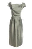 Cocktail Party Emma Domb Vintage Dress Sage Green Satin - Dressing Vintage