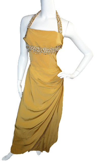 Vintage Emma Domb gold silk Evening dress SOLD - Dressing Vintage