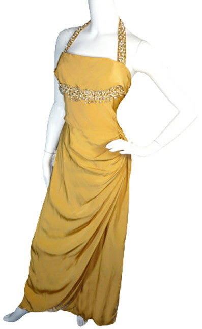 Emma Domb gold silk evening gown