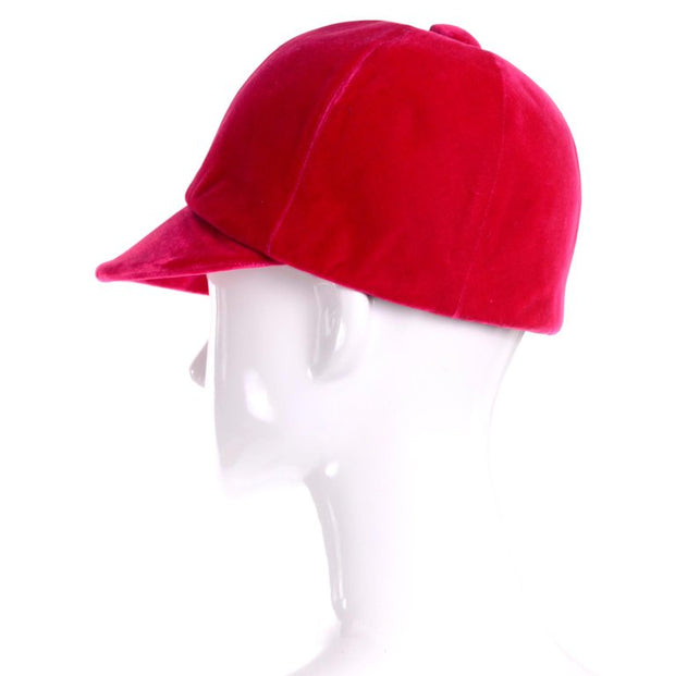 Pink/Red velvet riding cap from 1960's