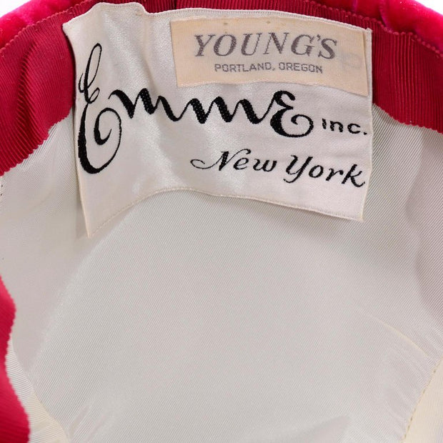 1960's Emme New York Raspberry Velvet Riding Cap at Dressing Vintage