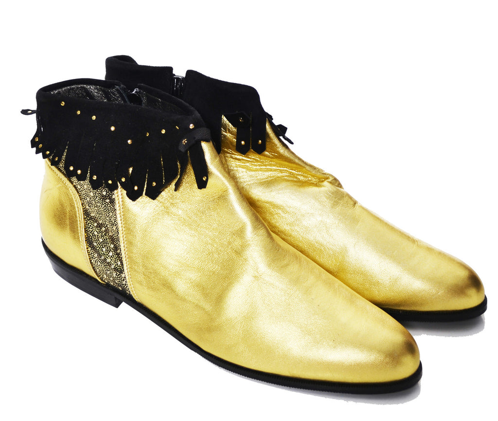 1980's NEW Enzo Carisi Italy Vintage Gold Lame Booties Size 10 SOLD - Dressing Vintage