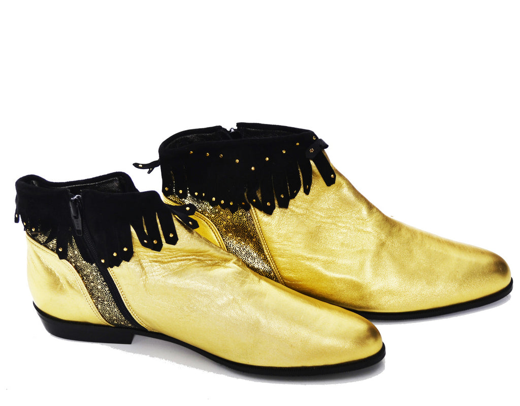 Enzo Carisi Italy vintage gold lame booties