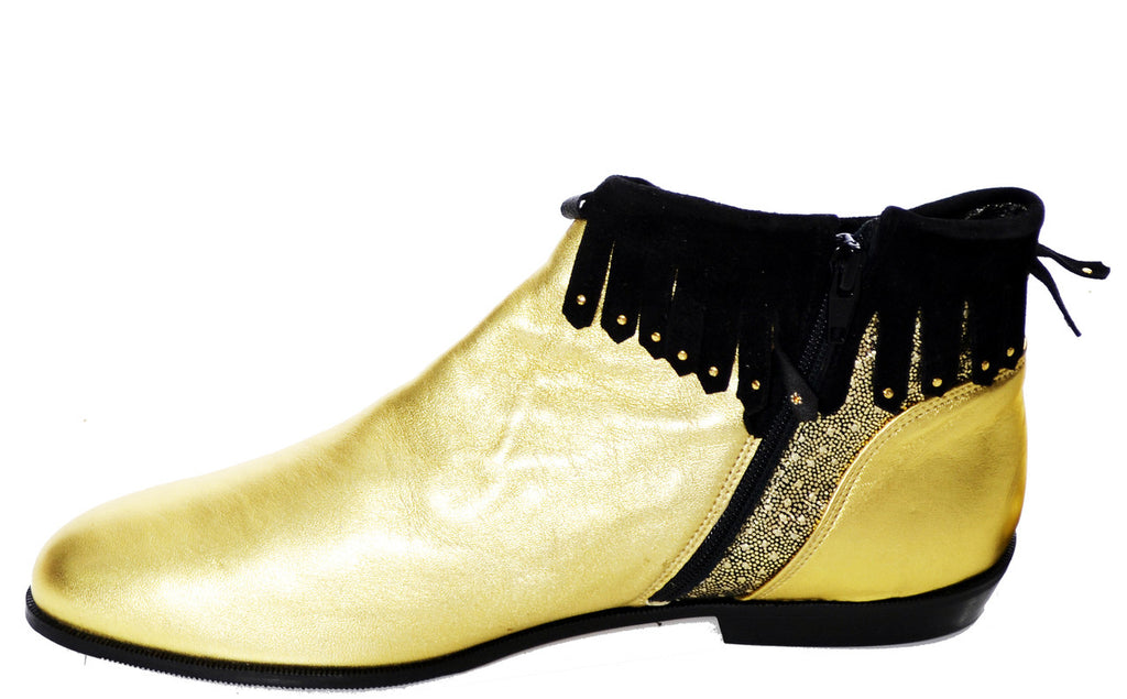 Gold Lame vintage booties
