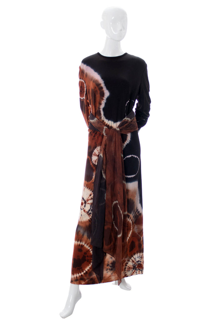 1970s Very Rare Hand Dyed Ernst Reiko Vintage Silk Dress with Scarf SOLD - Dressing Vintage