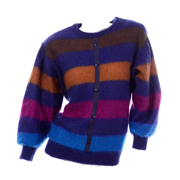Multi Colored Escada Margaretha Ley 1980s Vintage Striped Mohair Sweater