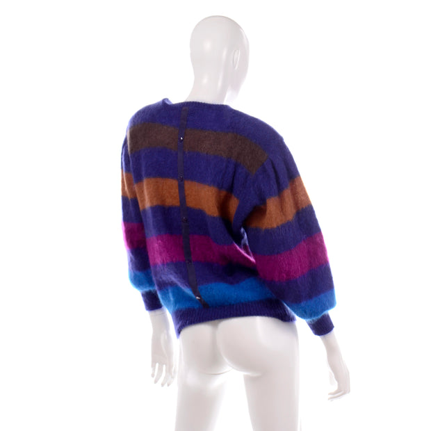 Colorful Escada Margaretha Ley 1980s Vintage Striped Mohair Sweater