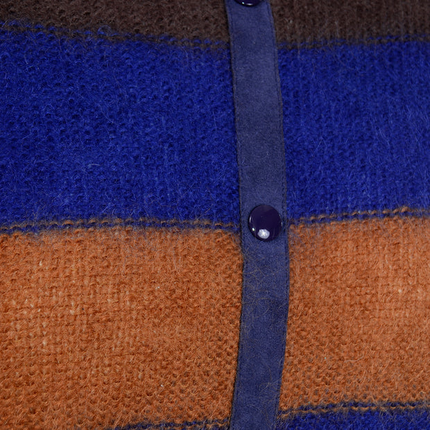 Escada Margaretha Ley 1980s Vintage Striped Mohair Suede Sweater