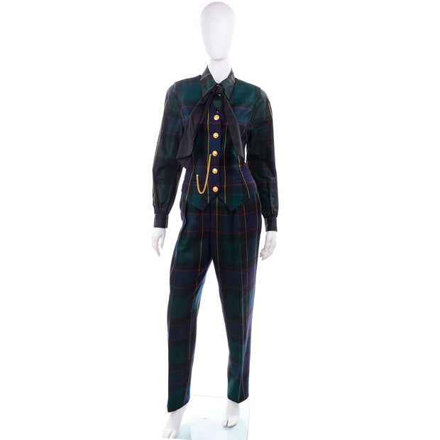 Green Navy 1980s Escada Vintage Plaid Pantsuit Vest Trousers Belt Blouse