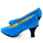Unworn Vintage Escada Blue Suede Shoes w/ Black Heels Size 7B