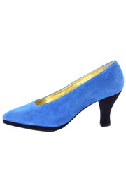 Vintage Escada bright blue suede heels 7