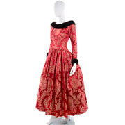 Victorian style jacquard ball gown with mink fur trim