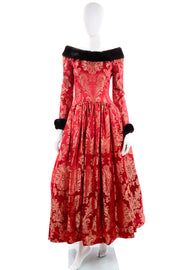 Vintage Escada Red Jacquard Evening Gown