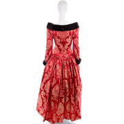 1990s Victorian style red jacquard evening gown by Escada, Size 6