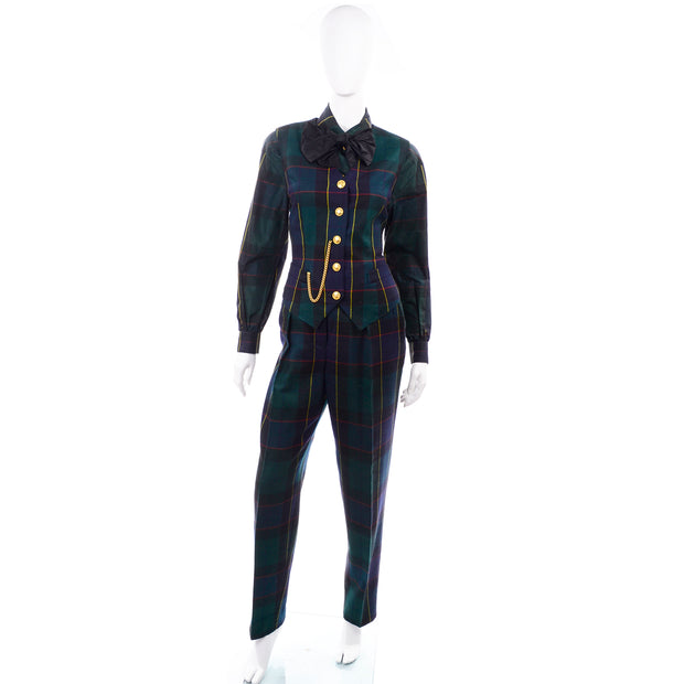 80s Escada Vintage Plaid Pant suit Vest Trousers Belt Blouse
