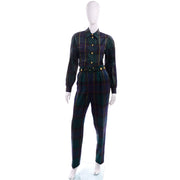 1980s Escada Vintage Plaid Pantsuit Vest Trousers BLouse Belt