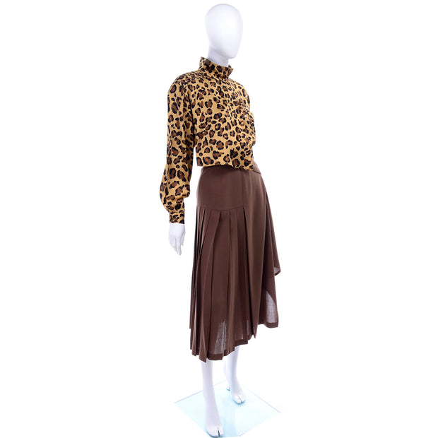 1980s Escada Silk Animal Print Blouse & Brown Wrap Skirt w/ Attached Belt