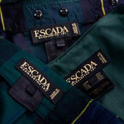 Escada Vintage Green Plaid Pant Suit W Blouse Vest Trousers & Belt