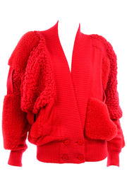 1980s Escada avant garde red mohair abstract sweater