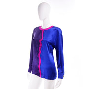 Blue Purple Pink Escada Vintage Silk Blouse w Abstract Face Profile