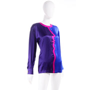 Escada Vintage Blue Purple & Pink Silk Blouse w Abstract Face Profile