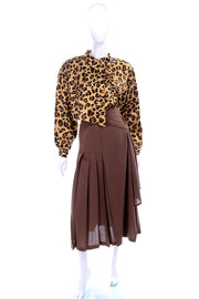 1980's Escada leopard print blouse and brown pleated skirt