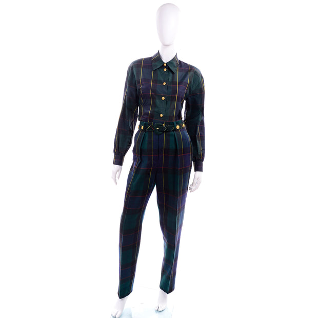 1980s Escada Green Plaid Pantsuit Vest Trousers Belt Blouse