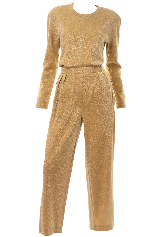 Escada Gold Lurex Vintage Jumpsuit