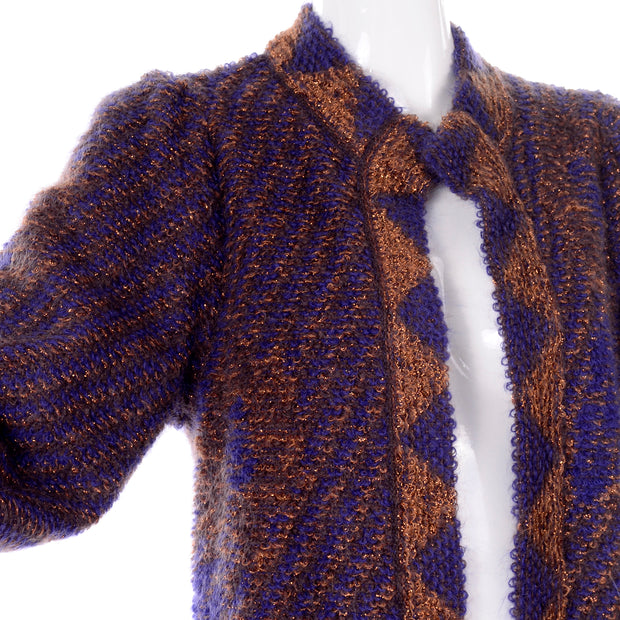 1980s Escada by Margaretha Ley Metallic Copper Purple Royal Blue Mohair Sweater Statement Sleeves 80s