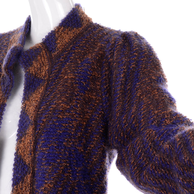 Statement sleeve 1980s Escada by Margaretha Ley Metallic Copper Purple Royal Blue Mohair Sweater