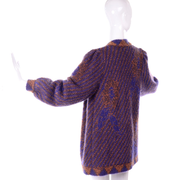 1980s Escada by Margaretha Ley Metallic Copper Purple Royal Blue Mohair Sweater Puff Sleeves