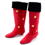 1980s Escada Vintage Red Suede Boots With Gold Clover