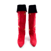 Escada Vintage Red Suede Boots With Gold Clover 1980s