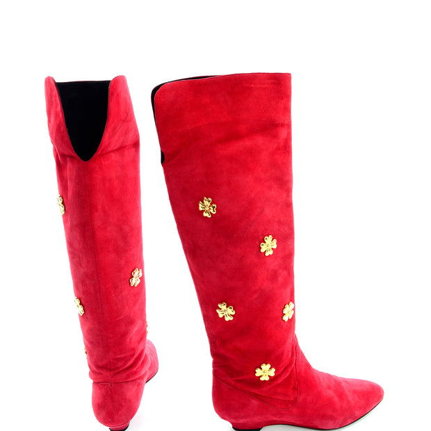 Escada 1980s Vintage Red Suede Boots With Gold Clover