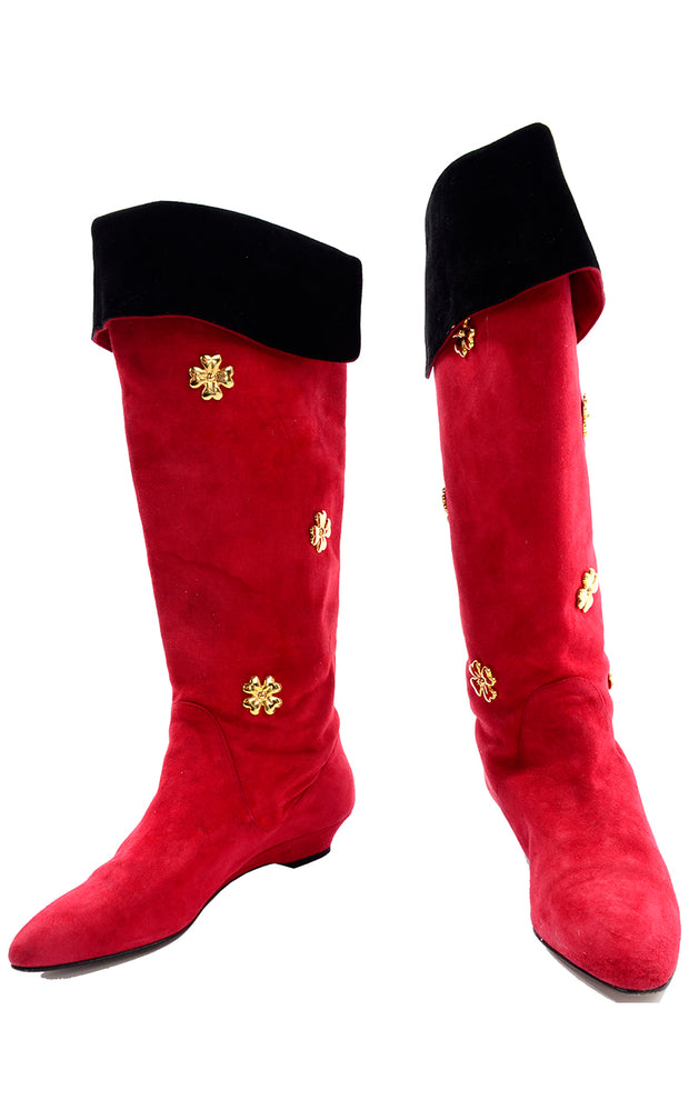 Escada Vintage Red Suede Boots With Gold Clover