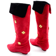 80s Escada Vintage Red Suede Boots With Gold Clover