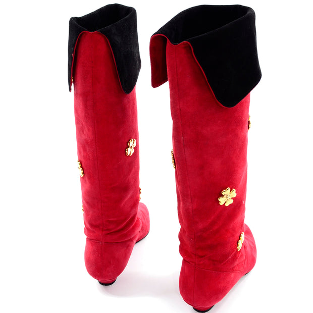 Escada Vintage Red & Black Suede Boots With Gold Clover